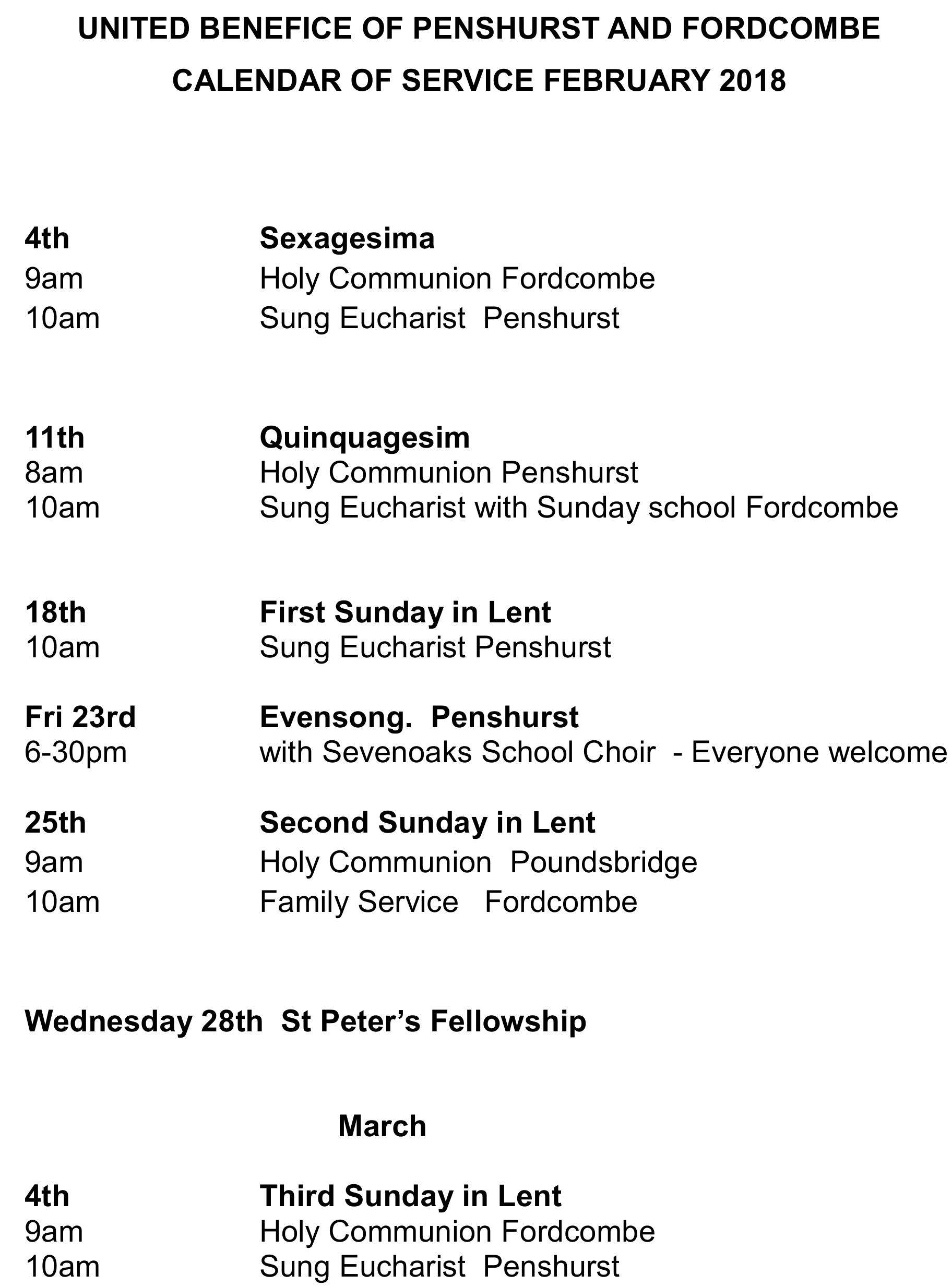 Services February 2018